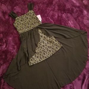 I.N. Girl GIRLS Black/Gold Accented Dress Size 7